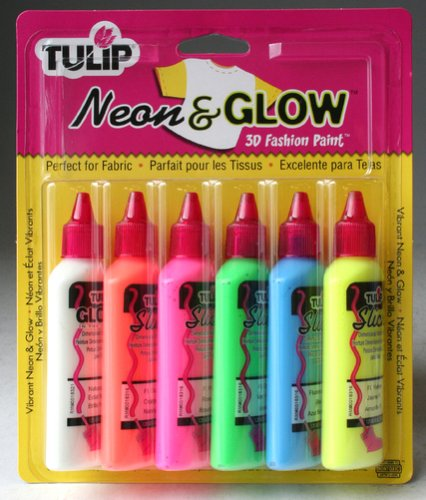 I Love To Create Tulip 3D Fashion Paint, 1.25-Ounce, Neon and Glow, 6 Per Package ()