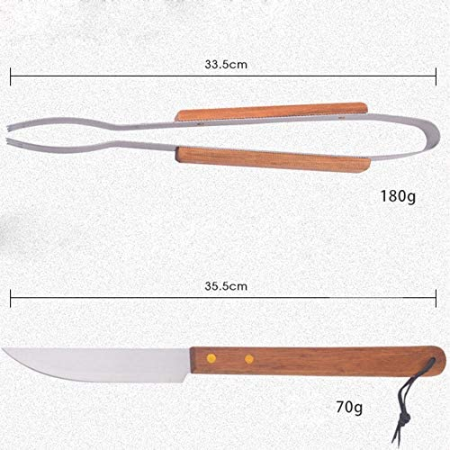Poignée D'outil Barbecue en Acier Inoxydable Combinaison Bois Fourche Couteau De Pince De Pelle Set-Quatre Pièces Outil De Barbecue Extérieur