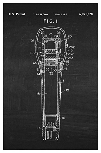Instrument Family Posters (Microphone - White on Chalkboard - Instrument Patents - 16x24 Matte Poster Print Wall Art)