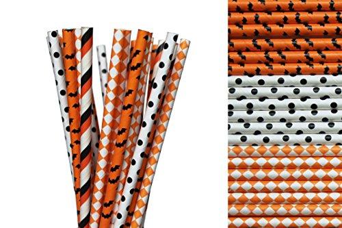 Orange Halloween Paper Straw Mix - Orange, Black, White, Bats, Polka Dot, Diamonds (25)
