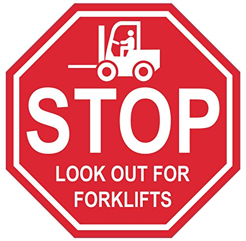 """""""Stop Look Out for Forklifts"""" - 26in Durable Floor Sign by Graphical Warehouse Vibrant Colors - Safety and Security Signage. Red Octagon."""