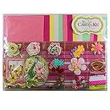 15 Card Making Kit - Arts & Crafts Pack (Cards, Embellishments, Ribbon & Envelopes) PINK