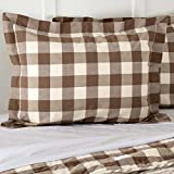 Piper Classics Dublin Buffalo Check Standard Size Bed Pillow Sham, 21'' x 27'', Country Farmhouse Style Bedding, Brown & Cream
