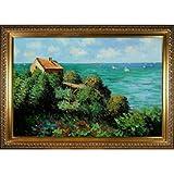 overstockArt The Coastguard's Cottage at Pourville Pintura al óleo con elegante marco de madera de Monet, acabado dorado