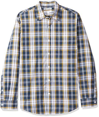Amazon Essentials Men's Regular-Fit Long-Sleeve Casual Poplin Shirt, Navy/Gold, Medium