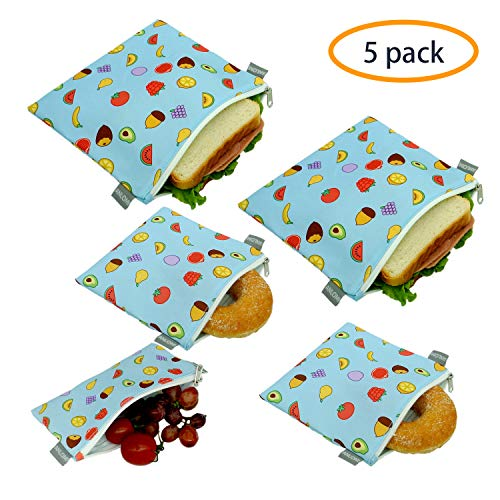 Reusable Sandwich Bags Snack Bags - Set of 5 Pack, Dishwasher Safe Lunch Bags with Zipper, Eco Friendly Food Wraps, BPA-Free. (Nuts&Fruits)