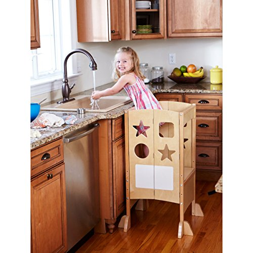 Guidecraft Classic Kitchen Helper - Natural: Adjustable Height Kitchen Counter Stool Tower For Toddlers, Cooking W/ Chalkboard and Whiteboard Message Boards