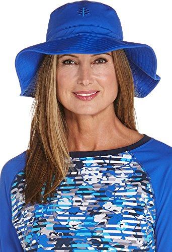 - Coolibar UPF 50+ Women's Chlorine Resistant Bucket Hat - Sun Protective (Small/Medium- Baja Blue)