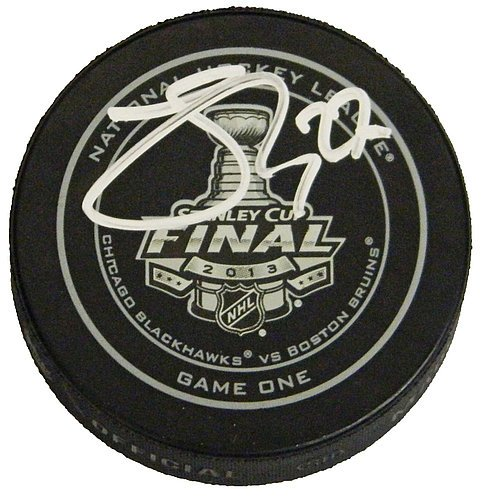 Johnny Oduya Autographed Official 2013 Stanley Cup Finals Game One Hockey Puck - Signed Hockey Collectibles