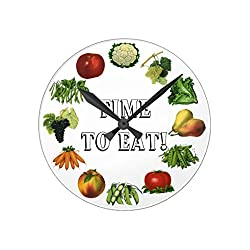 Modern Wooden Clock for Kids Time To Eat Your Fruits And Vegetables Wall Clock Art Decorative for Kids Room 12 Inch
