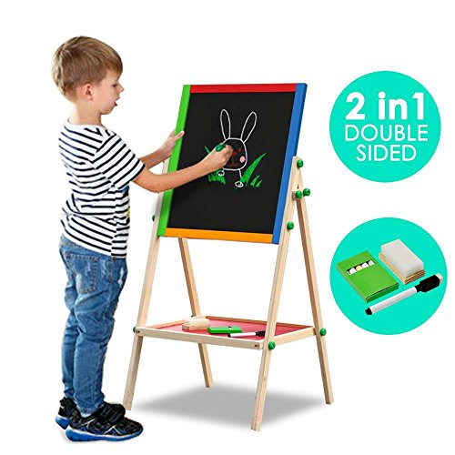Wooden 2-in-1 Black board and White board - 9