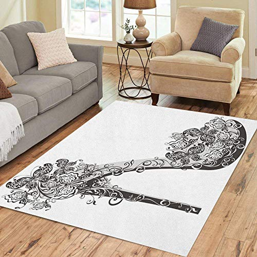 Semtomn Area Rug 5' X 7' White Shoes on High Heel Decorated Flowers and Butterflies Home Decor Collection Floor Rugs Carpet for Living Room Bedroom Dining Room