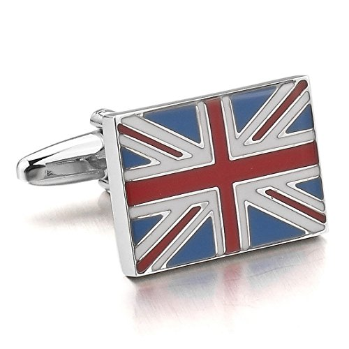 Link Costume Uk (INBLUE Men's 2PCS Rhodium Plated Cufflinks Silver Tone UK Flag Shirt Wedding)
