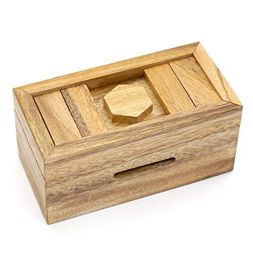 Puzzle Gift Case Boxes with Hidden Compartments in Unique Wooden Box to Challenge Mind Puzzles and Use as Intelligence Gift Box for Money in Secret (CANOPIC Chest) ()