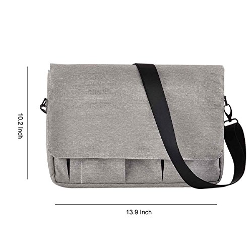 Polyester Fabric Water-Resistant Laptop Shoulder Briefcase Bag for 13-13.3 Inch MacBook Pro, MacBook Air, Ultrabook Netbook Tablet (Grey)