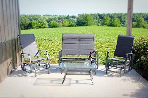 (Pebble Lane Living 4pc Outdoor Powder-Coated Aluminum Padded Sling Glider Deep Seating Furniture Set with 2 Chairs, 1 Loveseat and 1 Coffee Table - Grey )