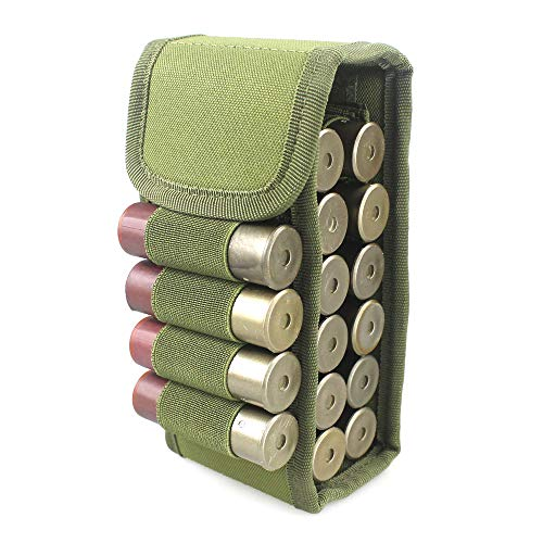 LIVIQILY Tactical 12G Bullets Package Hunting 16 Round Shells Package CS Field Portable Outdoor Bullet Bags Molle Magazine Pouch (Army Green)
