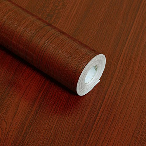 F&U Wood Grain Contact Paper Self Adhesive Shelf Liner Covering for Countertop Kitchen Cabinets Wall Table Door Desk (Mahogany 17.7