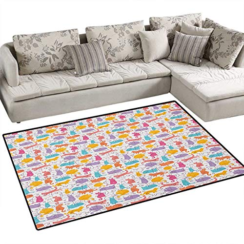 Cat,Floor Mat,Colorful Cat Figures Silhouettes and Outlines Bow Ties Sleeping Playing Happy Joyful,Area Rug,Multicolor ()