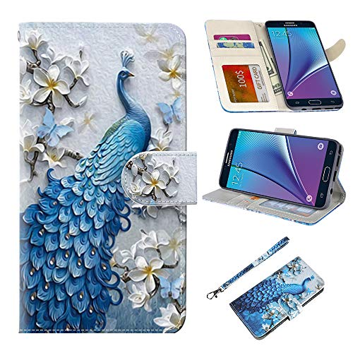 UrSpeedtekLive Samsung Galaxy Note 5 Case, Galaxy Note 5 Premium PU Leather Wristlet Flip Wallet Case Cover with Card Slots & Stand-Peacock