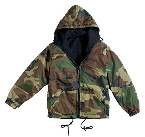 Rothco Reverse Flc Lined Nylon Jacket with Hood, Camo, Small (Camo Nylon Woodland Jacket Reversible)
