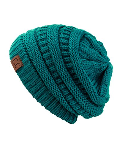 - Trendy Warm Chunky Soft Stretch Cable Knit Slouchy Beanie Skully HAT20A, Teal