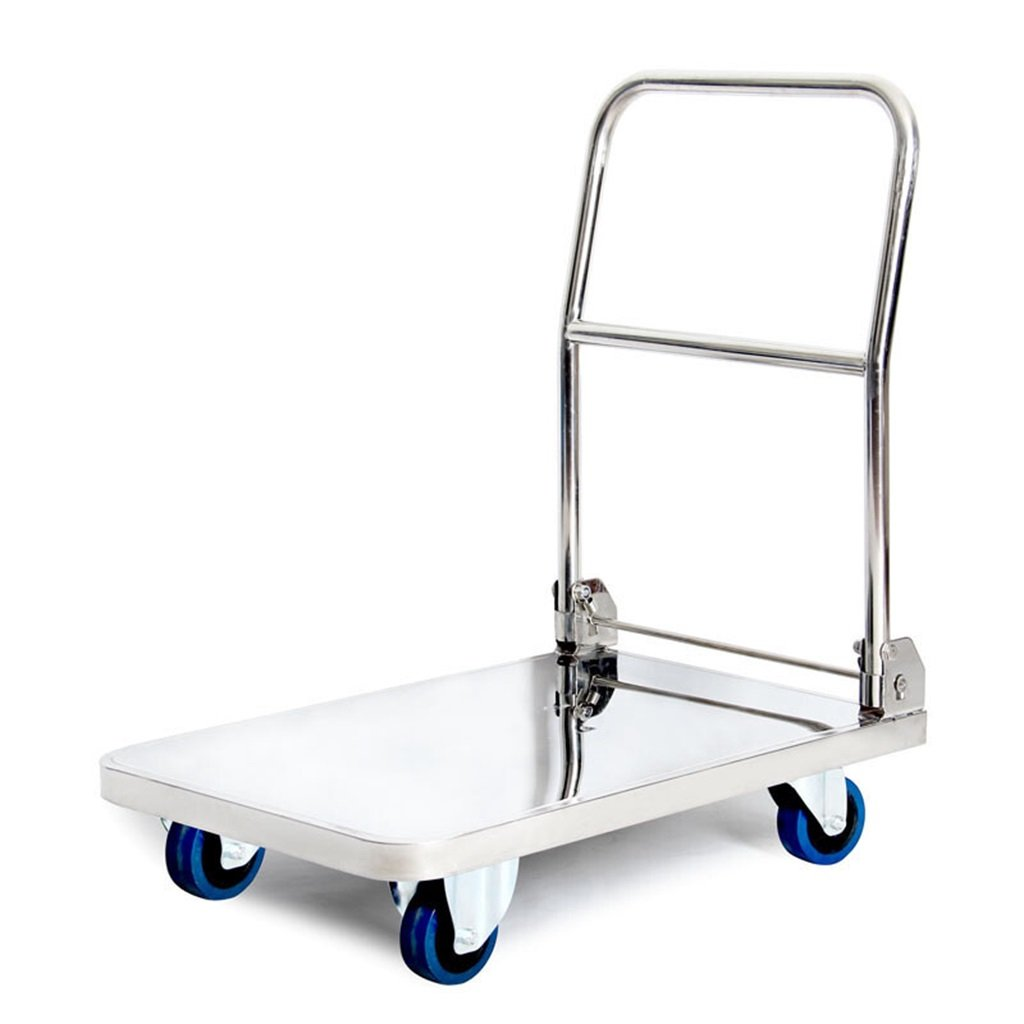 Jian E Stainless Steel Flatbed Truck Silent Fold 4 Rounds Trolley Hand Truck Delivery Trolley Handling Trailer Instrument Vehicle 150 Kg Load