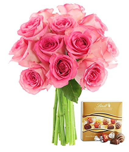 KaBloom Sweet Pink Bouquet of 12 Fresh Cut Pink Roses (Long Stemmed) without Vase and One Box of Lindt Chocolates
