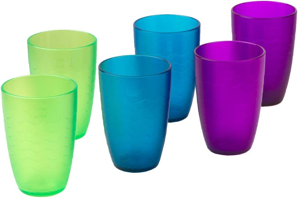 zova Durable Plastic Cups, Beverage Tumblers 11.3 oz/330 ml, Set of 6 in 3 Assorted Colors