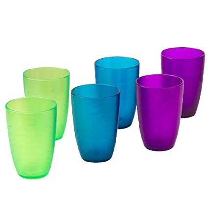zova Durable Plastic Cups, Beverage Tumblers 11 3 oz/330 ml, Set of 6 in 3  Assorted Colors