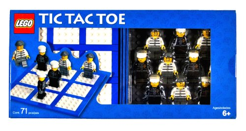 Lego Year 2006 Board Game Set #4499574 - TIC TAC TOE with Playing Board, Baseplate, Storage Case, 5 Policeman Minifigures and 5 Robber Minifigures (Total Pieces: 71)
