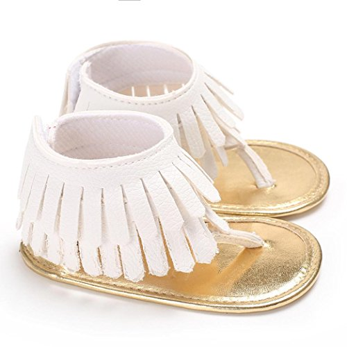Voberry Toddler Baby Girls Tassel Sandals Soft Soled Anti-slip Fringe Footwear Shoes (0-6 Month, White 1) by Voberry (Image #1)