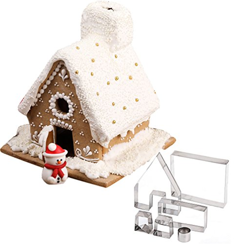 Christmas Gingerbread House Mold Cookie Cutter 6pcs Stainless Steel Kit Bake Chocolate Decoration (Gingerbread Mold)