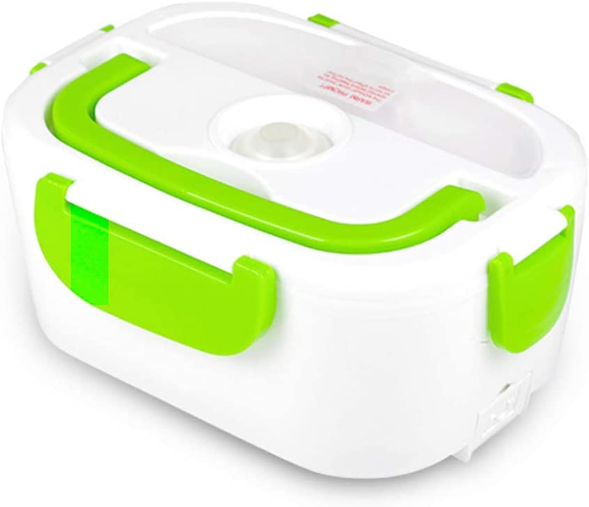 TLOG Car Electric Lunch Box, Portable Food Warmer Heating,Food-Grade Container, 12V Car Truck Use,Spoon and 2 Compartments Included (Green)