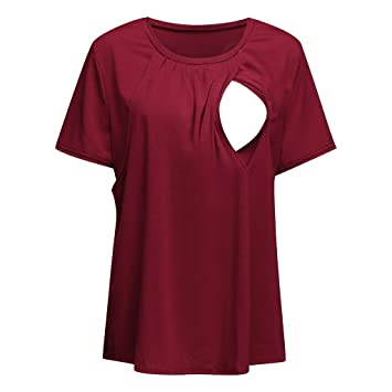 e25783777d1 Image Unavailable. Image not available for. Color: YRD TECH Women Maternity  Pregnancy Folding Nursing Baby Breastfeeding T-shirt Tops