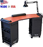 392 Manicure Nail Table Double Lockable Cabinet Cherry Laminated Top by Dina Meri