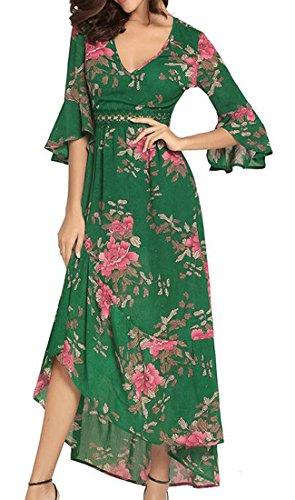 V Lungo Il Campana Cromoncent Irregolare Verde Cava Vestito Merletto collo Manicotto Fuori Bohemien Donne qagwXfq