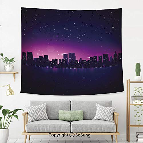 Night Wall Tapestry,City Skyline Silhouette Skyscrapers Abstract Graphic Architecture Urban Life,Bedroom Living Room Dorm Wall Hanging,60X50 Inches,Indigo Light Pink