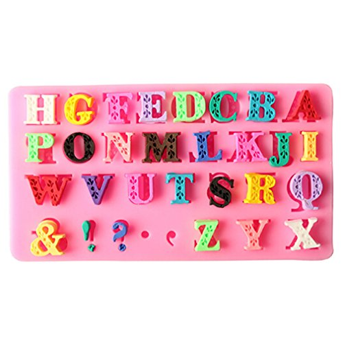 TraveT English Letters Alphabet Candy Fondant Chocolate Mold for Cake Decoration, Cupcake Decorate