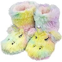 Girls/Kids Cute Unicorn Indoor Outdoor Slippers with Plush Fleece Warm Colorful Slip-on Booties