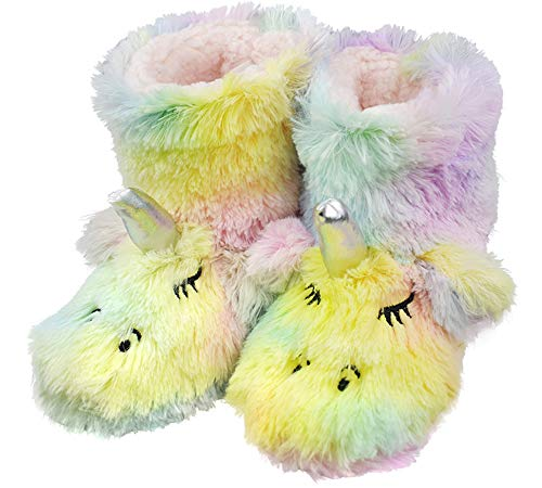 Girls/Kids Cute Unicorn Indoor Outdoor Slippers with Plush Fleece Warm Colorful Slip-on Booties