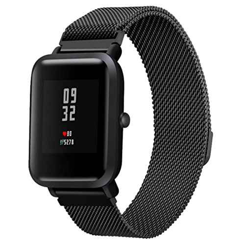 Price comparison product image For Xiaomi Amazfit Bip Band,  Boofab Milanese Magnetic Loop Stainless Steel Mesh Replacement Strap for Xiaomi Huami Amazfit Bip Younth Watch (Black)