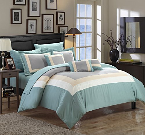 Chic Home Duke 10 Piece Comforter Set Complete Bed in a Bag Pieced Color Block Patterned Bedding with Sheet Set And Decorative Pillows Shams Included, King Green (Bedding Sets Clearance)