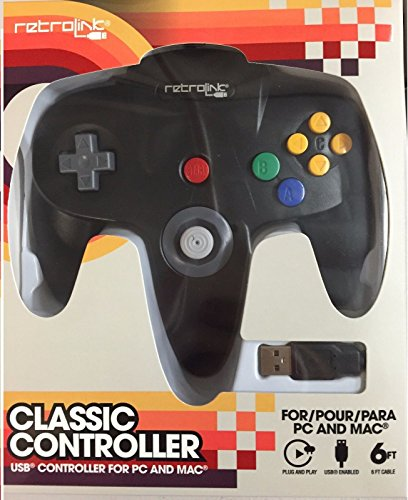 Retrolink Nintendo 64 Classic USB Enabled Wired Controller for PC and MAC, Black (N64 Controller)