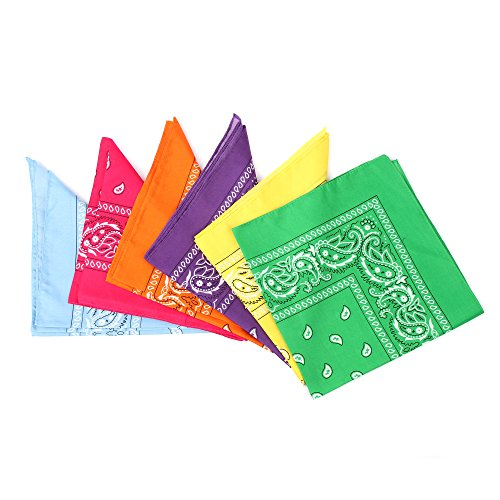 Fun Central 12 Pack Bandanas in Bulk for Men, Women, Kids & Dogs - Cowboy Party Favors Supplies - Neon Color -