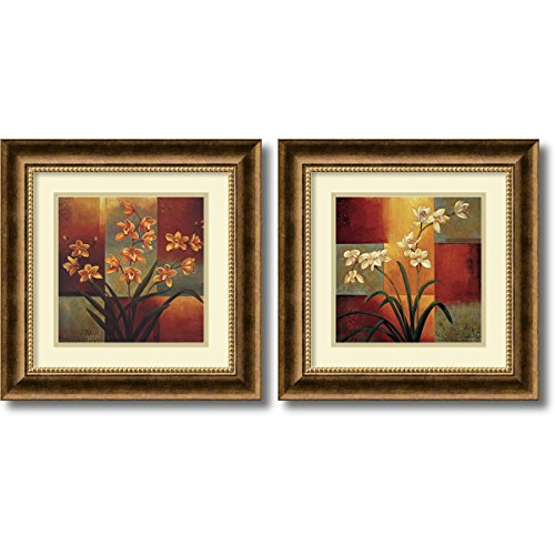 Piece 2 Poster Set - Framed Art Print, 'Orchids - set of 2' by Jill Deveraux: Outer Size 17 x 17