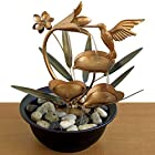 Bits and Pieces Indoor Hummingbird Lily Fountain - Zen Tabletop Water Fountain