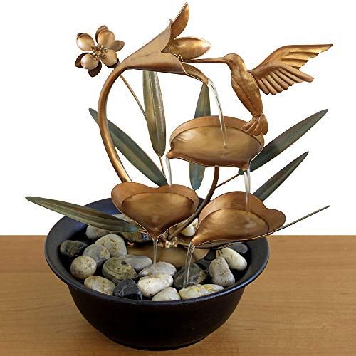 Copper Leaf Waterfalls (Bits and Pieces - Indoor Hummingbird Lily Fountain - Zen Tabletop Water Fountain)