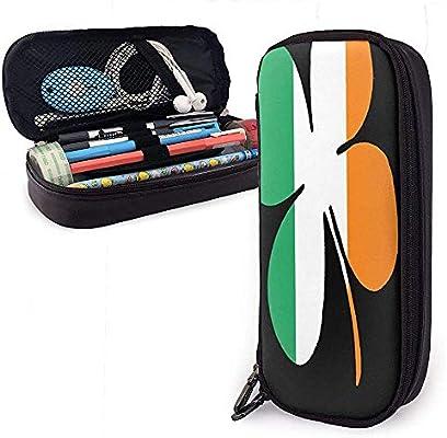 Trébol de cuatro hojas Suerte Deja perfil PU Cuero Estuche de lápices Bolsa de maquillaje con cremallera Bolígrafo: Amazon.es: Oficina y papelería