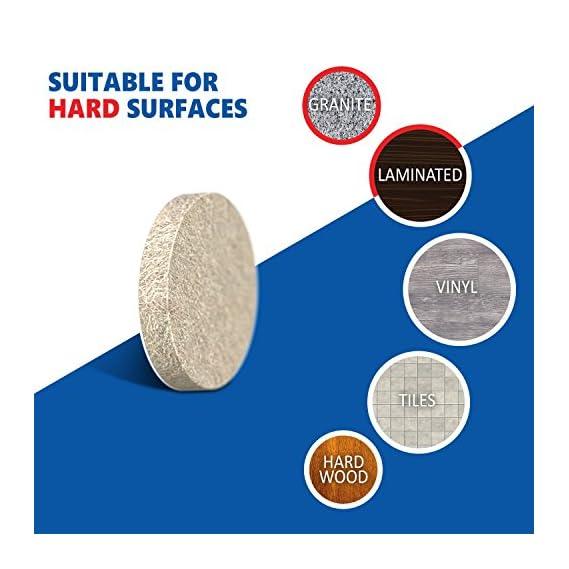 Bulfyss 80Pcs Self Sticking Round Felt Pads Non Skid Floor Protector Furniture Pad Noise Insulation Pad Floor Bumper, Beige